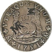 "1600 Reais - José I (Contremarque ""MR"" sur 8 Reales/Mexique) – avers"