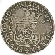 """1600 Reais - José I (Contremarque """"MR"""" sur 8 Reales/Mexique) – revers"""