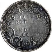 225 Réis - Luiz I (Contremarque sur ½ Rúpia/Inde britannique) – revers