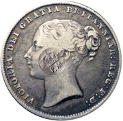 100 Reis - Luis I (Contremarque sur 1 Shilling/Victoria) – avers