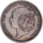 50 Réis - Luiz I (Contremarque sur 6 Pence/Victoria) – avers