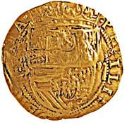 "Half ounce - José I (Countermark ""MR"" over 2 Escudos, Felipe IV, Spain) – revers"