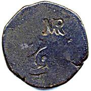 "50 Réis - José I (Countermark ""MR"" over 60 Réis(Tanga)/Portuguese India)zil) – avers"