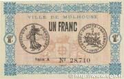 1 franc - Ville de Mulhouse [68] – avers