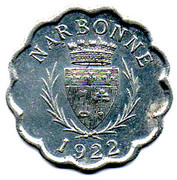 25 Centimes - Syndicat  Limonadiers et restaurateurs - Narbonne [11] – avers