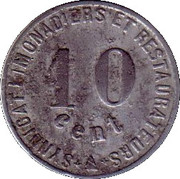 10 centimes -Syndicat des Limonadiers et Restaurateurs - Narbonne [11] – revers