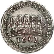 1 thaler - Johann Franz, Heinrich, Wilhelm Moritz, Heinrich Casimir et Franz Alexander – avers