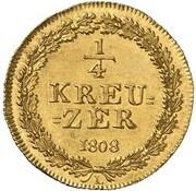 ¼ kreuzer Friedrich Wilhelm & Friedrich August (Frappe essai en or) – revers