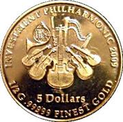 5 Dollars / Investment Philarmonic Gold Coin – revers