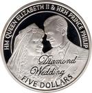 5 Dollars - Elizabeth II (Diamond Wedding; Engagement) – revers
