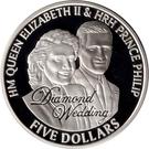 5 Dollars - Elizabeth II (Diamond Wedding; Wedding Portraits) – revers