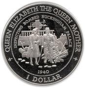 1 Dollar (Anniversaire de la Reine mère) – revers