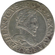 "Franc de Navarre ""aux quatre H"" (2ème type) - Henri II de Béarn, III de Navarre, IV de France – avers"