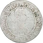 """Franc de Navarre """"aux quatre H"""" (1er type) - Henri II de Béarn, III de Navarre, IV de France -  avers"""