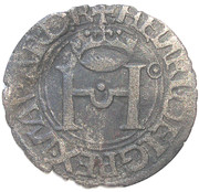 "Liard de Navarre ""à la croix pattée"" - Henri II d'Albret – avers"