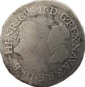 Teston (type de Pau) - Henri II de Béarn, III de Navarre, IV de France et Marguerite de Valois – avers
