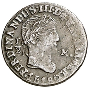½ maravedi Ferdinand VII tête laurée – avers