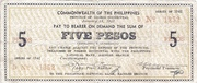 5 Pesos (Negros Occidental; Couponized check issue) – avers
