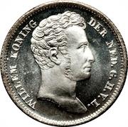 ¼ gulden - Willem I – avers