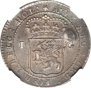 Gulden - Madura Star countermark on a Batavian Republic Gulden 1802 – revers
