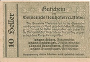 10 Heller (Neuhofen a. d. Ybbs) – revers