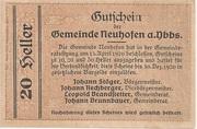 20 Heller (Neuhofen a. d. Ybbs) – revers