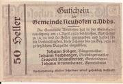 50 Heller (Neuhofen a. d. Ybbs) – revers