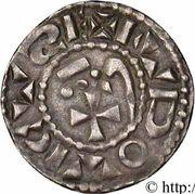 Denier nivernais - immobilisation au nom de Louis IV d'Outremer – avers