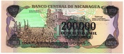 200,000 Cordobas (overprinted on 1000 Cordobas) – revers