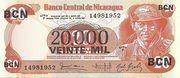 20,000 Cordobas (overprinted on 20 Cordobas) – avers