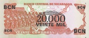 20,000 Cordobas (overprinted on 20 Cordobas) – revers
