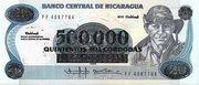 500,000 Cordobas (overprinted on 20 Cordobas) – avers