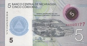5 Cordobas - 57 Years of the Central Bank of Nicaragua -  avers