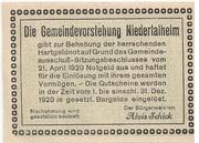 50 Heller (Niedertalheim) -  avers