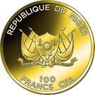 100 Francs CFA (Colosse de Rhodes) – avers