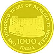 1000 Naira (100 ans - Banque du Nigeria) – revers