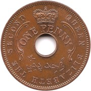 1 penny Elizabeth II – avers