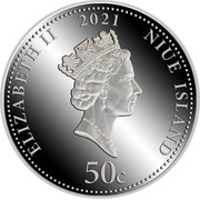 50 cents - Elizabeth II (Année du buffle) – avers