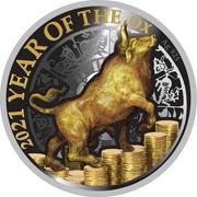 50 cents - Elizabeth II (Année du buffle) – revers