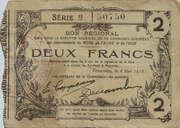 2 francs - Bon régional des départements du Nord [59], de l'Aisne [02] et de l'Oise [60] – avers