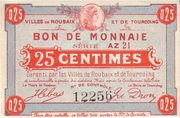 25 centimes Villes de Roubaix et de Tourcoing [59] – avers