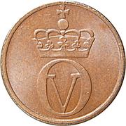 1 øre - Olav V – avers