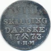 8 Skilling 1773 - Christian VII – revers