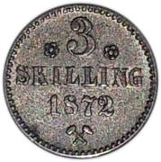 3 skilling - Oscar II – revers