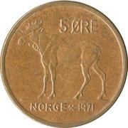 5 øre - Olav V (élan) -  revers