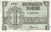 1 krone (LONDON exile) – avers