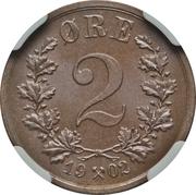 2 øre - Oscar II – revers