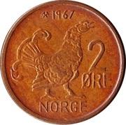 2 øre - Olav V (grandes inscriptions) -  revers