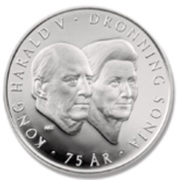 200 kroner - 75th birthdays of the king and queen – avers