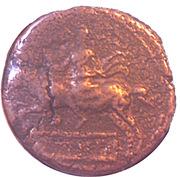 Semis Syphax (Numidie occidentale ; petite barbe, cavalier vers la gauche) – revers